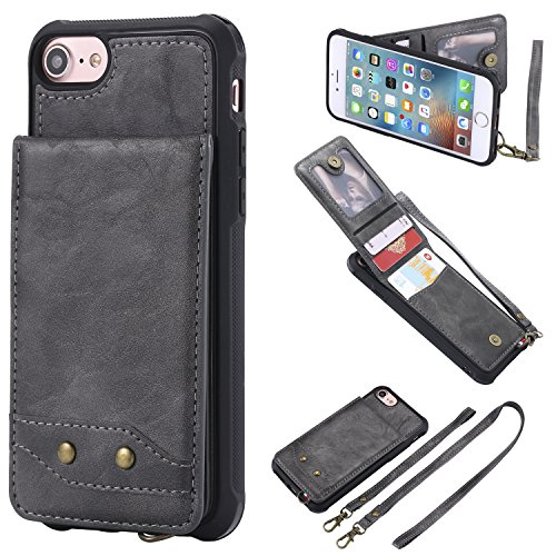 - Shinyzone Leather Back Case for iPhone 7,Removable Wrist Strap & Neck Strap Metal Buckle Premium PU Flip Wallet Case with Card Holder Cover for iPhone 8,Gray