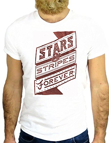 T SHIRT Z0145 STAR STRIPES FOREVER NICE COOL AMERICA FUN COOL SUPER SPORT GGG24 BIANCA - WHITE XL