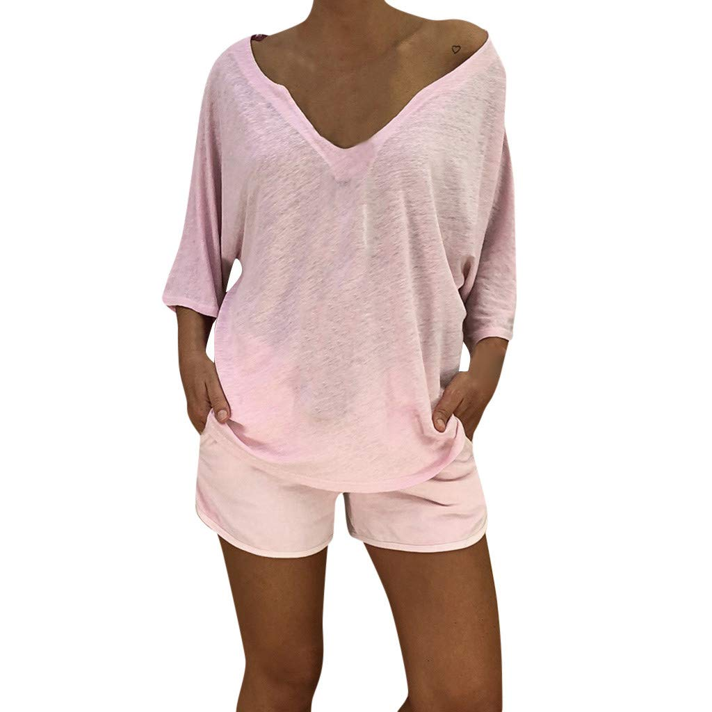 Women's Casual T-Shirt,Lace Patchwork 3/4 Sleeve O-Neck Top S-5XL, Semi-Sheer Fashion Style for Ladies (Pink, XL)