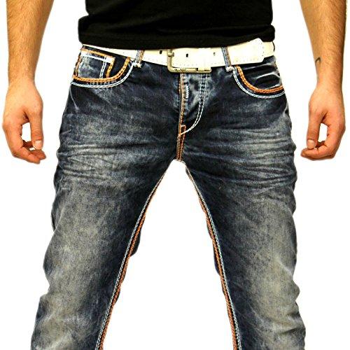 R-Neal Kontrast Naht Jeans Hose 7444-1 ORANGE