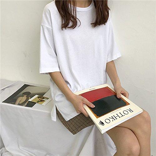 Xmy Sauvage de couleur unie manches courtes T-shirt girl Chun-loose minimaliste mince vidéo ouvrir la chemise, long, T-shirt code sont