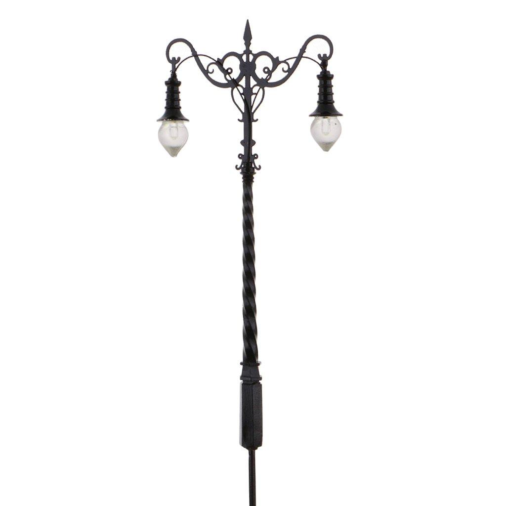 Gazechimp 2 piezas Lámpara Modelo de Diseño Ferroviario Luces Farol Doble Cabeza Calle Patio Juguetes para Niños Regalo: Amazon.es: Juguetes y juegos