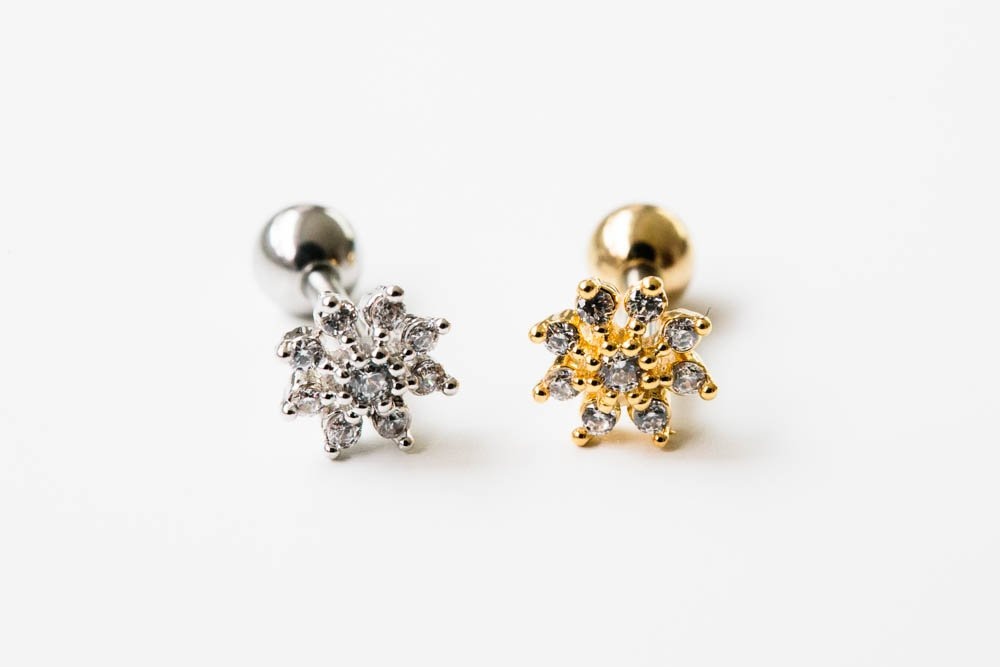 16g Body jewelry cartilage ear studs cute cool earring tragus helix barbell for women teens girls men mini snowflake earring piercing Mini Flower Cz Tragus Earring,bridesmaid Gift