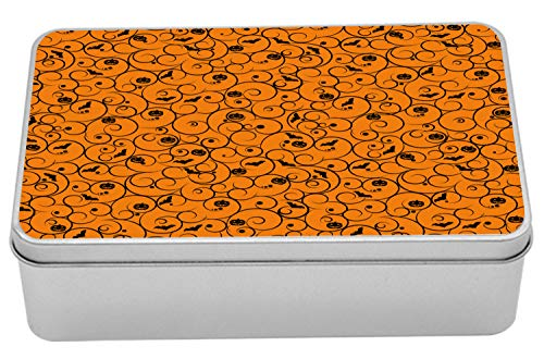 Lunarable Halloween Tin Box, Floral Swirls with Dots Little Bats Open Wings and Pumpkins Seasonal Pattern, Portable Rectangle Metal Organizer Storage Box with Lid, 7.2