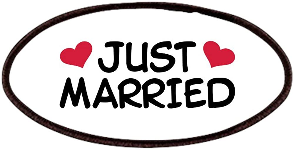 4x2in Printed Novelty Applique Patch CafePress Just Married Wedding Patches Patch