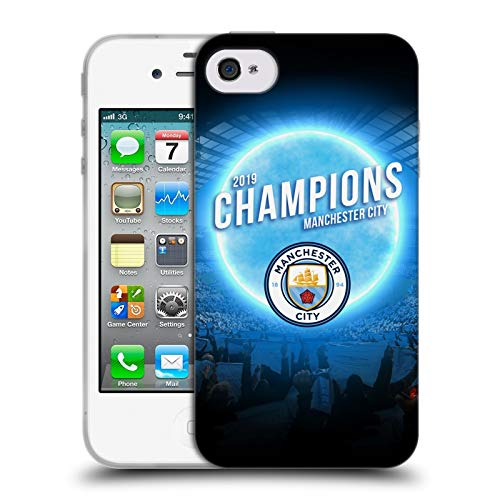 Official Manchester City Man City FC Blue Moon 2019 Champions Soft Gel Case Compatible for iPhone 4 / iPhone 4S (Bmo 4s Iphone Case)