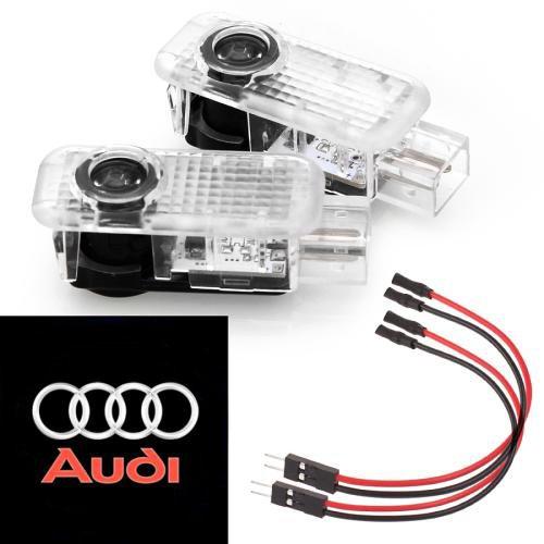 Luces LED para puerta de coche con logotipo de pantalla fantasma, fá cil instalació n para Audi, A3, A4, B5, B6, B7, B8, A6, C5, C6, A5, TTQ7, A4L, A1, A7, R8, A6L, Q3, A8, A8L fácil instalación para Audi Knragho