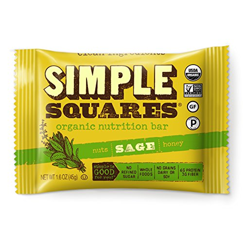 SIMPLE Squares Treats - Organic Nut and Honey Bar Cookies - Yummy with Breakfast and with Coffee - no sugary dates! - (1.6 oz bars) (Sage Nuts & Honey, (Honey Nutrition Bar)