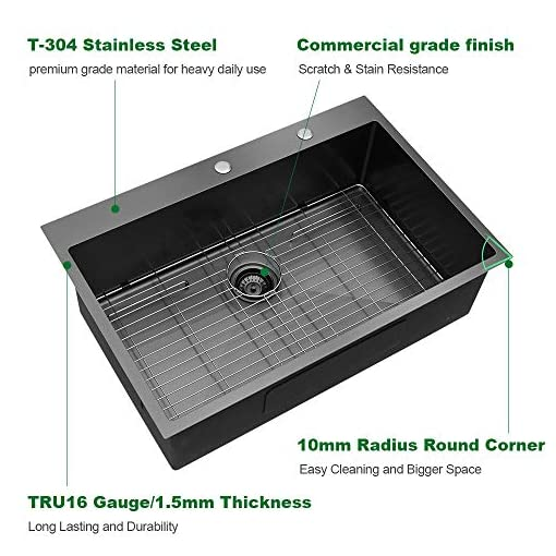 Kitchen Black Kitchen Sink Drop In – Sarlai 30 Inch Drop In Topmount Gunmetal Black 16 Gauge Stainless Steel Single Bowl Drop… modern kitchen sinks
