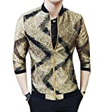 Tootless-Men Individuality Shiny Club Mao Collar Sequin Zipper Bomber Jacket Coat Golden L