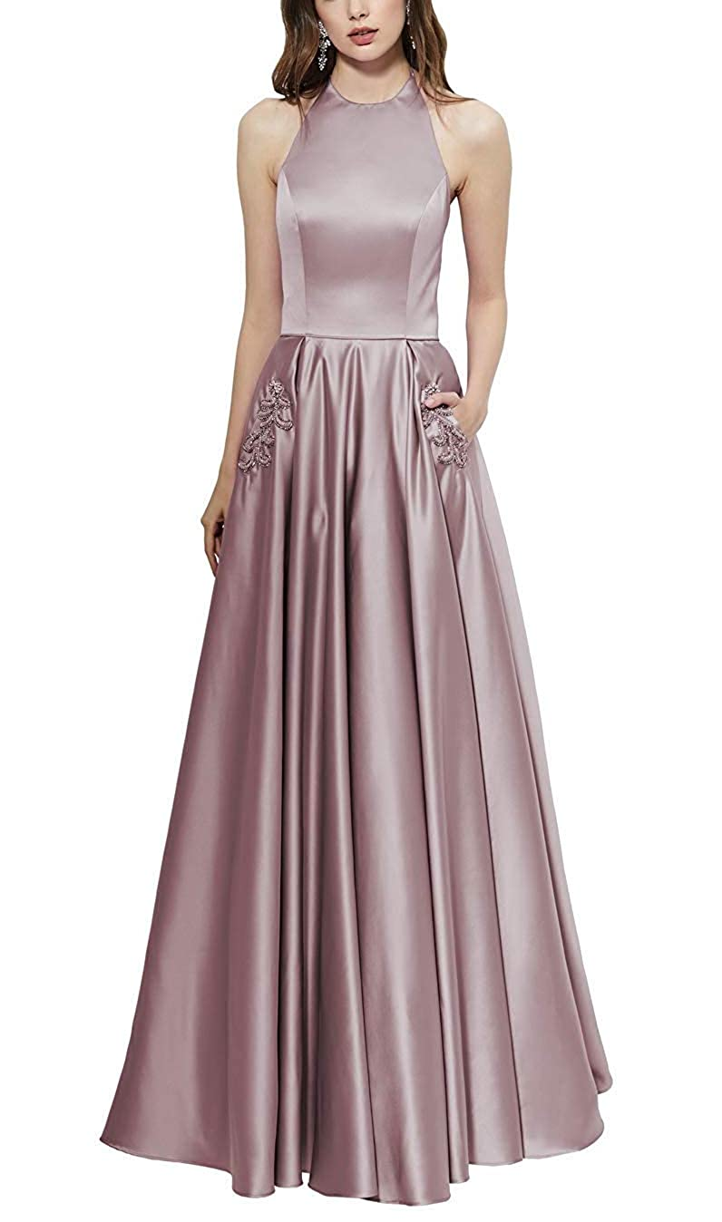 Dusty pink Halter Prom Gown Long Backless Satin Aline Formal Evening Dresses with Beaded Pockets