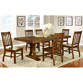Furniture of America Castile 7-Piece Transitional Dining Set, Dark Oak