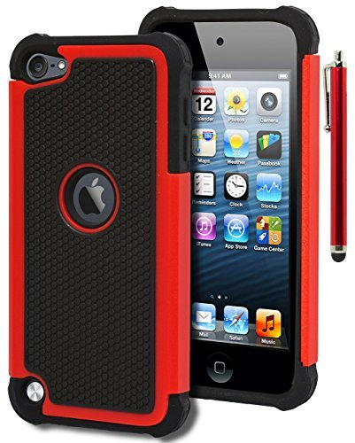 iPod Touch 5 & 6 Case, Bastex Heavy Duty Hybrid Protective Case - Soft Black Silicone Cover with Black and Red [Shock] Design Case for Apple iPod Touch 5 & 6 [Compatible with iPod Touch 6]