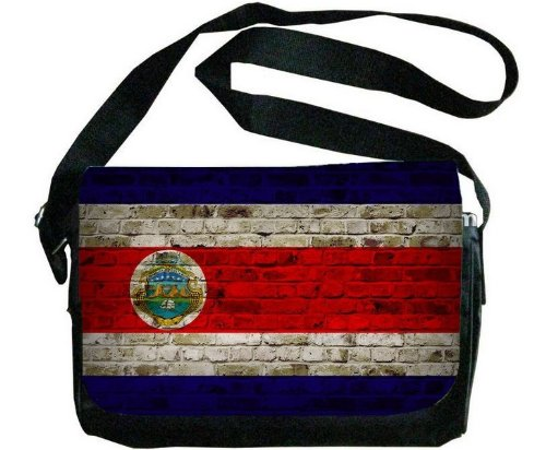 コスタリカ国旗レンガ壁デザインメッセンジャーバッグ   B00F1YCD3M