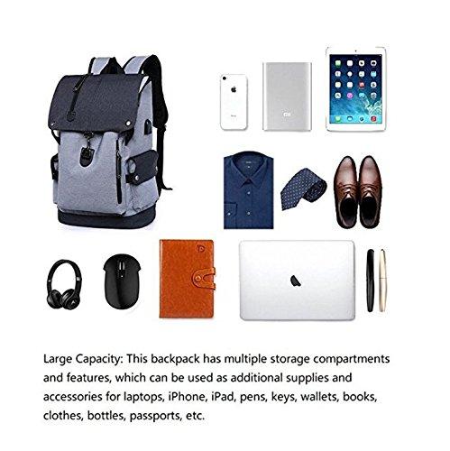 RDJM Geschäfts-Laptop-Rucksack, Dünne Antidiebstahl-Computer-Tasche, Wasserdichter College-Schulrucksack, USB-Ladeanschluss Passt 15.6 Zoll-Laptop U. Notizbuch, Optionales Set GrayB