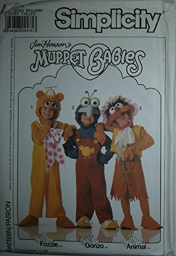 Gonzo Muppet Costumes (Simplicity Sewing Pattern 0615/9388 Jim Henson's Muppet Babies: Fozzie, Gonzo & Animal, Sz. A)