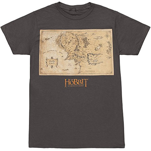 The Hobbit Middle Earth Map T-Shirt - Charcoal (Large)