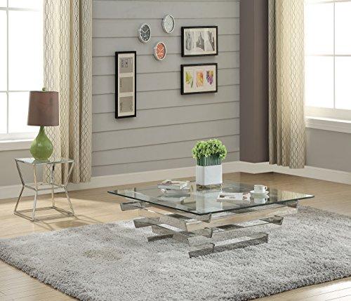 Farmhouse Coffee Tables ACME Salonius Coffee Table – – Stainless Steel & Clear Glass farmhouse coffee tables