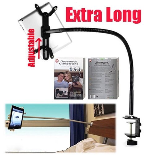 2xhome -Black Color 4.3'' to 11'' Aluminum Tablet Office Desk Desktop Table Clamp Mount with 360º Easy-Adjust Holder & 22'' Gooseneck Flexible Arm Clamp Lock for Samsung Galaxy Tab Acer Iconia A100 A500 by 2xhome