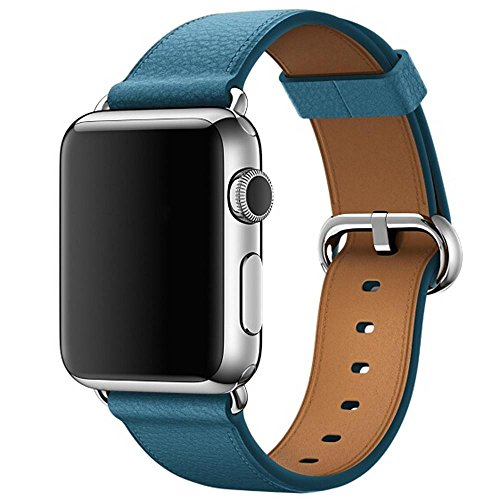 For Apple Watch Series 3 38MM,Outsta Single Tour Leather Band Bracelet Watchband strap Blue