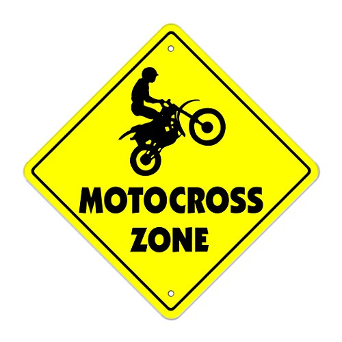 "Motocross Crossing Sign Zone Xing | Indoor/Outdoor | 12"" Tall dirt bike supercross cycle racing tricks track racer BMX"