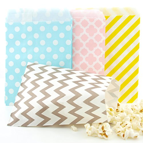 Bag Pastel - Easter Candy Bags (100 Pack) - Pastel Yellow, Pink, Blue & Silver Easter Egg Hunt Party Favor Bags, Easter Paper Bags for Chocolate or Candy & Easter Party Favors / Party Decorations