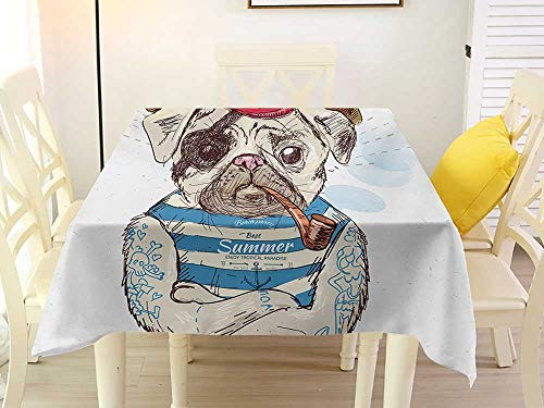 L'sWOW Square Tablecloth Tassels Pug Pirate Pug Conqueror of The Seas Pipe Skulls and Bones Hat Striped Sleeveless T-Shirt Brown Blue Stripe 36 x 36 Inch
