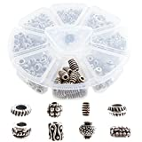 Silver Finish Antique Metal Spacer Beads for Jewelry Making Findings Over 650 PCs - 8 Unique Styles Organized in Round Plastic Container - 2-3.9 mm Holes - Great for DIY, Bracelets, Necklaces (3)
