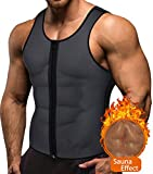 BRABIC Hot Sauna Sweat Suits,Zipper Closure Tank Top Shirt for Weight Lost,Waist Trainer Vest Slim Belt Workout Fitness-Breathable, Neoprene Fabric (Grey Outer and Blue Inner Sweat Vest, XL)