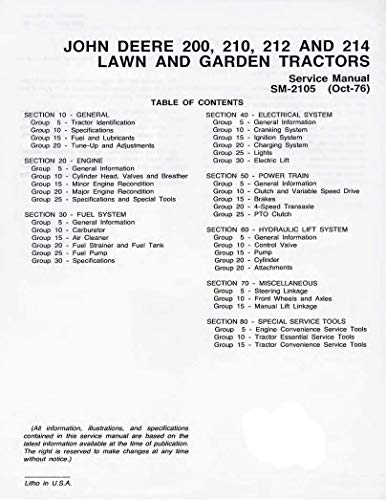 John Deere JD 210, 212, 214, 216 Lawn & Garden Tractor Manual Pack