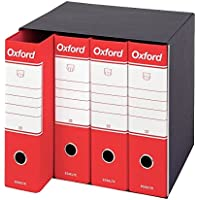 Esselte Gruppo da 4 Raccoglitori Oxford con meccanismo a leva e con custodia, Formato Protocollo, Cartone, Dorso 8 cm, Rosso, 390789160, 4 Pezzi