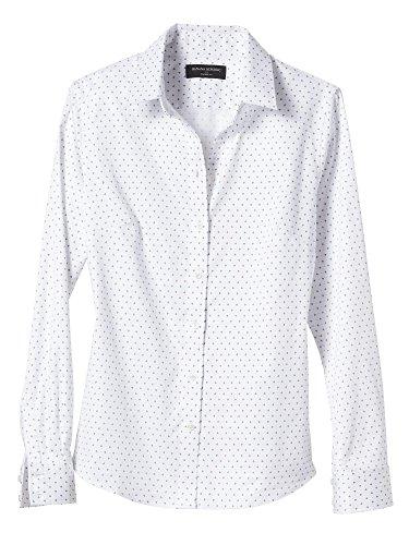 Banana Republic Women's Print Dot Tailored Non-Iron Shirt White Size