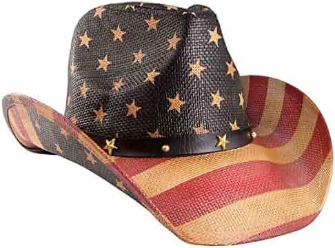 a69de7469a1b1 Vamuss Men s Vintage USA American Flag Cowboy Hat w Western Shape-It Brim