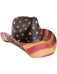 Men's Vintage Tea-Stained USA American Flag Cowboy Hat w/ Western Shape-It Brim