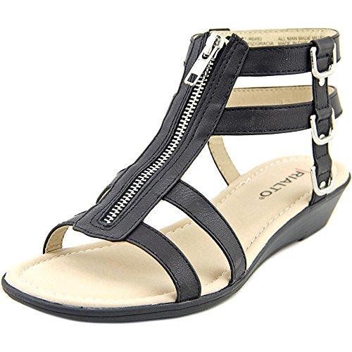 Rialto Womens Gracia Open Toe Casual Strappy Sandals Black/Burn/Smooth U9YPJ3NL