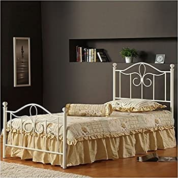 This Item Hillsdale Furniture 1354BTWMR Westfield Metal Bed Set With Rails,  Twin, Off White