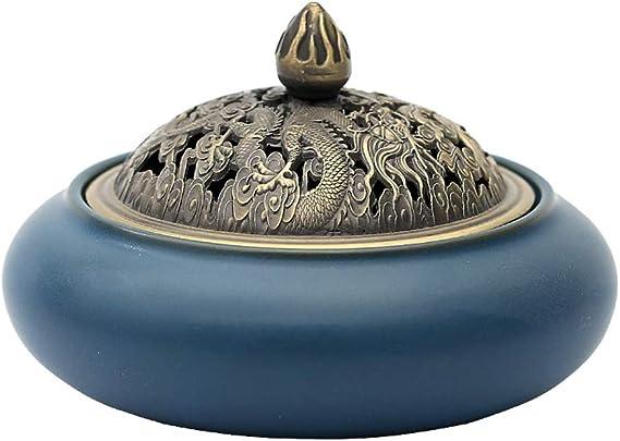 芳香器・アロマバーナー 香炉レトロコイル香炉リビングルームセラミックサンダルウッドのお香ホルダークリエイティブホームデコレーション仏教の飾り アロマバーナー芳香器 (Color : Blue)