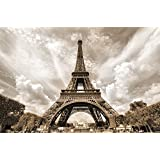 Poster Eiffel Tower Mural Decoration France Capital City Paris Point of Interest Landmark Eiffel Tower Look-Out | Wallposter Photoposter wall mural wall decor by GREAT ART (55 x 39.4 Inch)