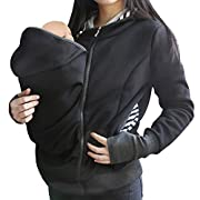 Y-Step Women's Baby Carrier Jacket Kangaroo Winter Maternity Outerwear Zip Hoodies Maternity Kangaroo Hooded Sweatshirt