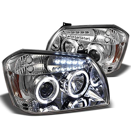 Xtune for 2005-2007 Dodge Magnum Projector Twin Halo LED Headlights Head Lights Set Pair Left+Right/2006