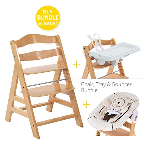 Hauck Alpha Chair Ultimate Bundle w/Bouncer and Tray: Adjustable Wooden Feeding Chair, Grows with Your Child from Birth to Adulthood. Bouncer Compatible with Chair or Stands Alone