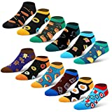 12 Pack Ankle Novelty Socks Funny Crazy Food No Show Design for Men,Low Cut Taco Donuts Eggs Coffe Pizza Hot dog Socks
