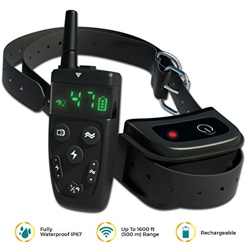[NEW 2018] Dog Training Collar with Remote | Long Range up to 1600 ft, Shock/Vibration Control, Rechargeable & IPX7 Waterproof | Electric Training E-Collar for Small, Medium and Large Dogs, Breeds