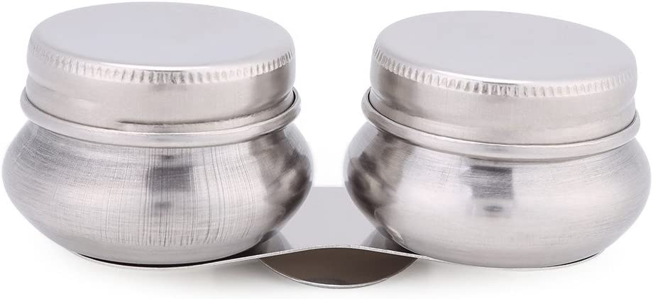 1pc Stainless Steel Large Double Dipper Palette Cup Oil Container Paint Megilp Turpentine Solvent Container with Screw Cap 51mRyxKG2BBL