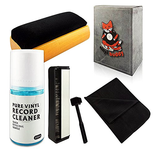 Vinyl Buddy - Complete 5 Piece Vinyl Record Cleaning kit Includes: Record Cleaner - Microfiber Cloth - Velvet Brush - Microfiber Brush & Stylus Brush by Vinyl Buddy