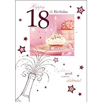 Words N Wishes Female Happy 18th Birthday Card Cupcake Amazon