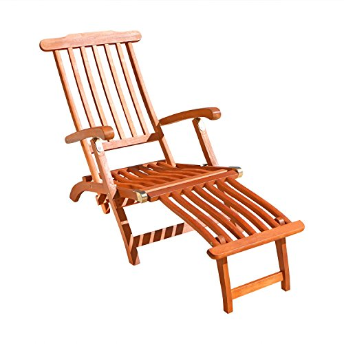 Steamer Deck Chair - VIFAH V156 Outdoor Wood Steamer Lounge, Natural Wood Finish, 45 by 22 by 36-Inch