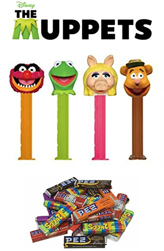 PEZ Muppets Dispensers and Candy Refill Set (Bundle of 5 Items) - 4 Muppets Dispensers and a PEZ Candy Refill (Pez Collection)