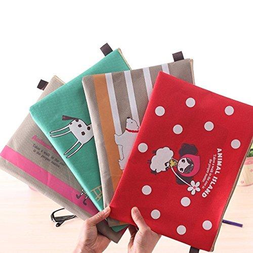 (Katoot@ 4 pcs/lot Cute girl folder Kawaii A4 paper zipper file bag Document Bag Kawaii stationery office material school)