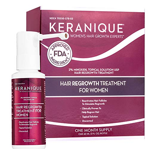 Keranique Hair Regrowth Treatment Extended Nozzle Sprayer - 2% Minoxidil, 2 Fl Oz 30 Day Supply - Regrow Thicker-Looking Hair, Helps Revitalize Hair Follicles (Best Product For Hair Loss Treatment)